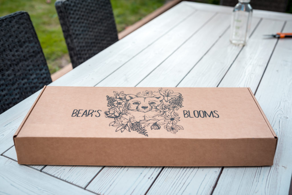 Bear's Blooms delivery box with Bear and flowers in Vancouver a flower delivery subscription Service