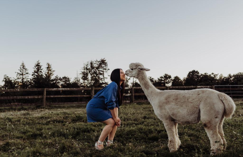 girl kissing Alpaca in farm