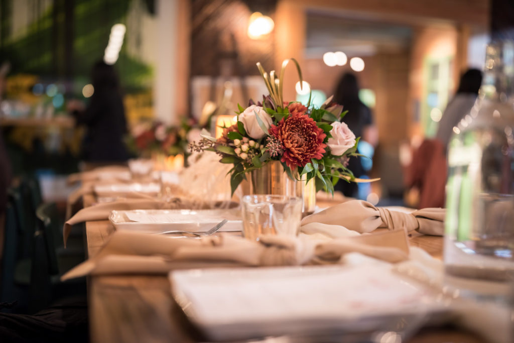 Glamouraspirit fall table decor by taffete design for home for dinner fundraiser for Ronald McDonald House B.C & Yukon charity at Stanley Park Brewing Company stanley park for thanksgiving and Friendsgiving