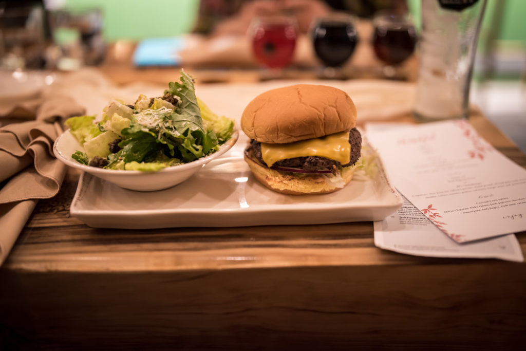 famous JRG cheeseburger at Stanley Park Brewing Company, Stanley park, home for dinner, fundraiser, RMHBC, thanksgiving, Friendsgiving