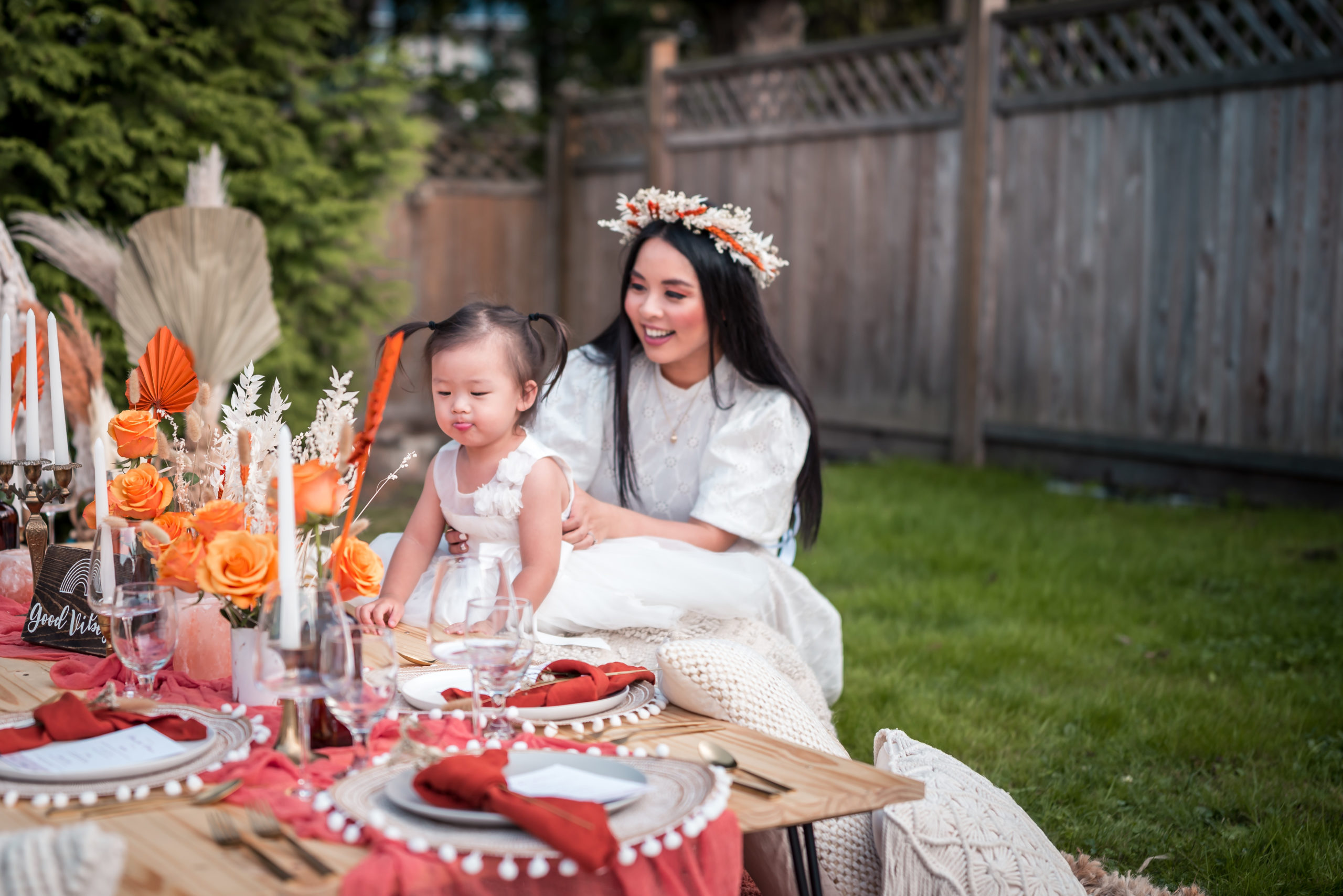 Glamouraspirit home for dinner fundraising picnic in backyard with flower crown and adelina with fall decor for RMH BC with Fresh Prep