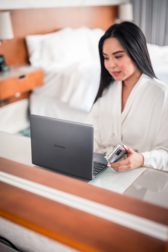 Huawei Matebook 13 laptop at westin Bayshore Vancouver