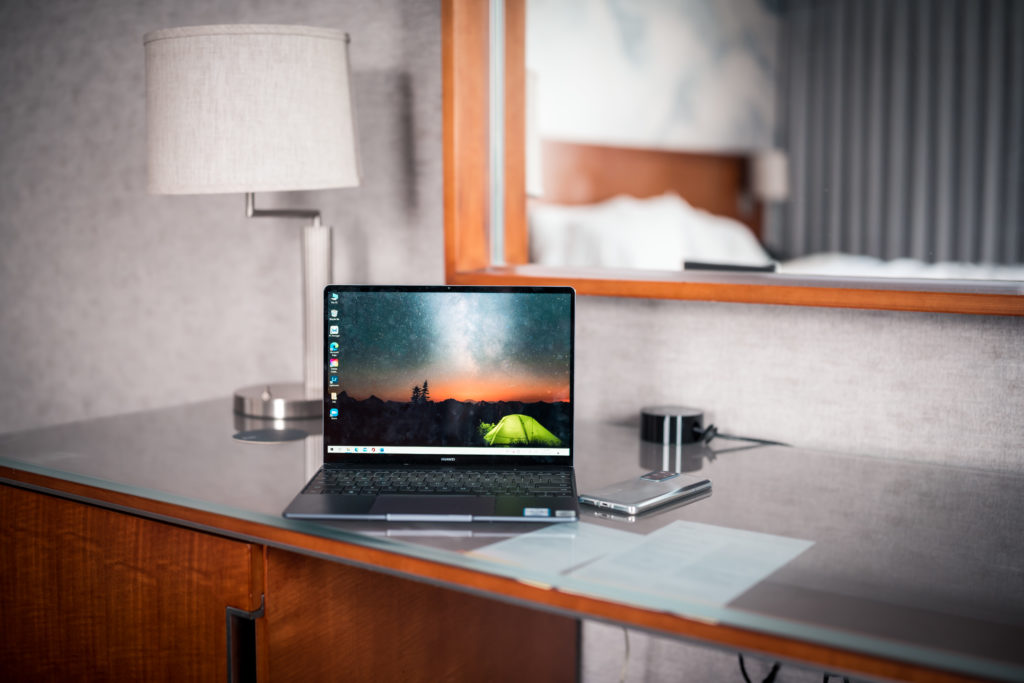 Huawei Matebook 13 borderless screen with Huawei P40 Pro in Silver Frost at Westin bayshore Vancouver